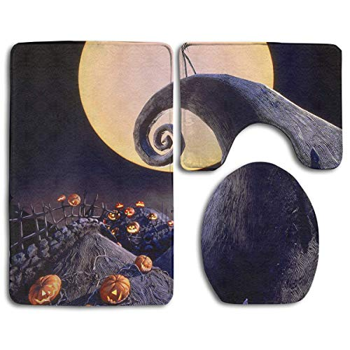 The Nightmare Before Christmas Extras Washable Bath Rug Set Included Bathroom Rugs Contour Mat Lid Cover 3 Pcs for Home Decor for -