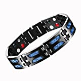 MASALING Blue Carbon Fiber Titanium Magnetic Therapy Bracelet for Pain Relief Arthritis and Carpal Tunnel with Double Row 4-Element