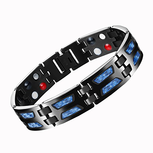 MASALING Blue Carbon Fiber Titanium Magnetic Therapy Bracelet for Pain Relief Arthritis and Carpal Tunnel with Double Row 4-Element (Bracelets Fiber Carbon)
