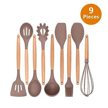 Spatula Set Silicone Kitchen Utensils 9 Piece Silicone Cooking Utensils Set Nonstick and Heat Resistant Cookware Set Kitchen Utensils Set