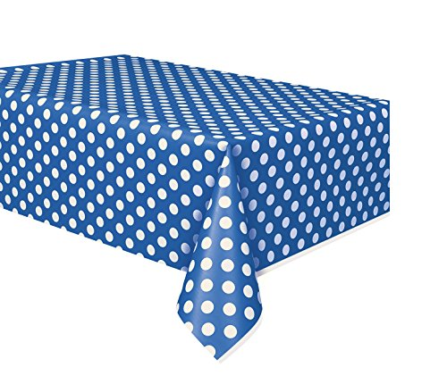 Royal Blue Polka Dot Plastic Tablecloth, 108