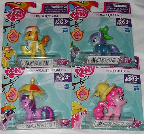 My Little Pony Friendship is Magic Figures Party Favors - 4 Figures - Mr. Carrot Cake, Pinkie Pie, Twilight Sparkle & Maud Rock -