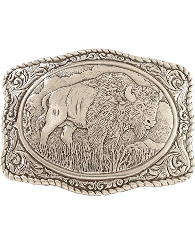 Crumrine Men's Vintage Buffalo Belt Buckle Silver One - Buffalo Buckle