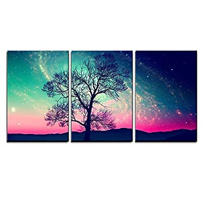 Grand Piece, That You Will Love, Red Alien Landscape with Alone Tree Over The Night Sky with Many Star x3 Panels