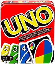 Mattel Games UNO: Family Card Game, with 112 Cards in a Sturdy Storage Tin, Travel-Friendly, Makes a Great Gif
