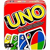 Mattel Games UNO: Family Card Game, with 112 Cards in a Sturdy Storage Tin, Travel-Friendly, Makes a Great Gift for 7 Year Olds and Up [Amazon Exclusive] (GDJ85)