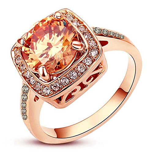AMIERY Women's 18K Rose Gold Princess Cut Anniversary Ring Cubic Zirconia Wedding Engagement Topaz Rings (rose gold-yellow, 8) (Rose Gold Engagement Ring Settings)