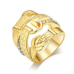 FHMZ(TM) 18K Gold Plated Ring Finger Ring Shining Clear Crystal Lady Cocktail Ring Fashion Jewelry Wedding Ring