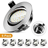 LED Recessed Ceiling Lights, 5W Warm White 3000K IP44 Bathroom Spotlight Downlights Ultra Slim Round Nickel Protection Rotatable 6 Pack for Living Room Bedroom Kitchen [Energy Class A ]