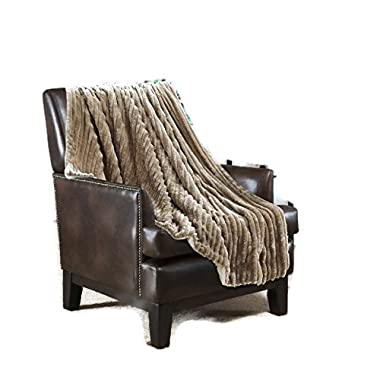 50 W-60 L Throw 3d Jacquard Taupe, Micromink Flannel Reserves Sherpa , Lightweight, Super Soft , Warm, For Bedroom , TV, Couch, Sofa, Sleigh-bed, Cabin. By Hiyoko