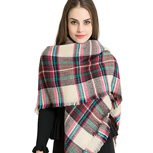 Mob Outfit (Marvel O Bug Warm Plaid Fashion Women Oversized Fringe Scarf Blanket Shawl Wraps Poncho Pashminas)