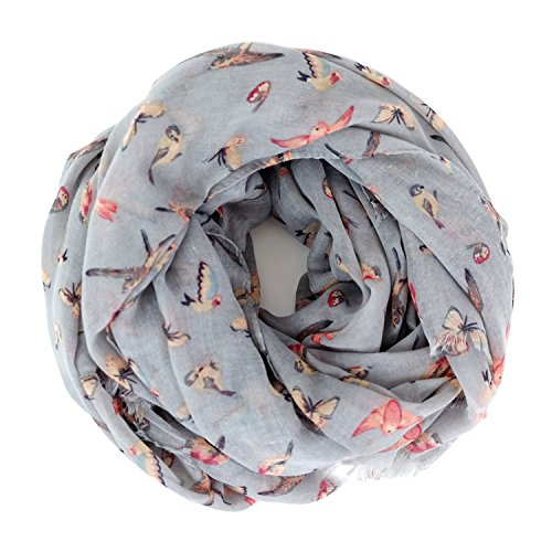 Bird Sweater - Scarves for Women: Lightweight Cute Bird Floral Fashion shawl by MIMOSITO (Gray Butterfly Bird)