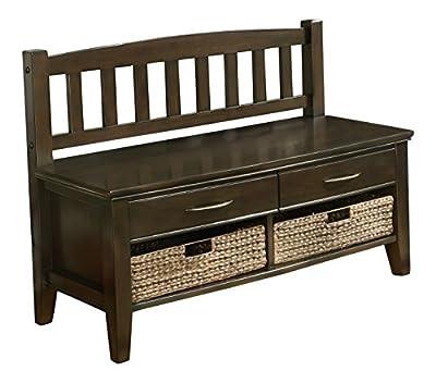Simpli Home Williamsburg Entryway Storage Bench w/ Drawers & Cubbies, Walnut Brown