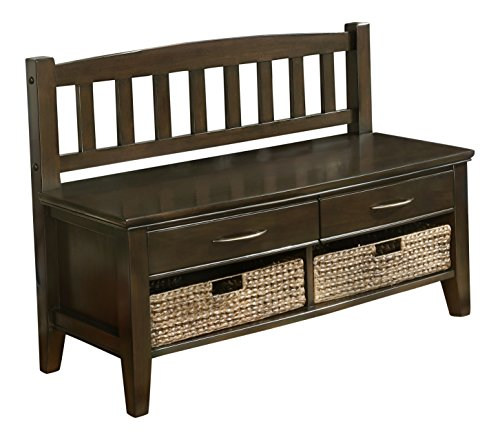 Simpli Home Williamsburg Entryway Storage Bench w/ Drawers & Cubbies, Walnut Brown (Bench With Storage Drawers compare prices)