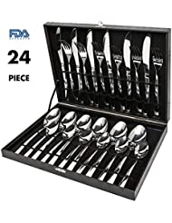 Silverware Set,Elegant Life 24-Piece Stainless Steel Flatware Sets High-grade Mirror