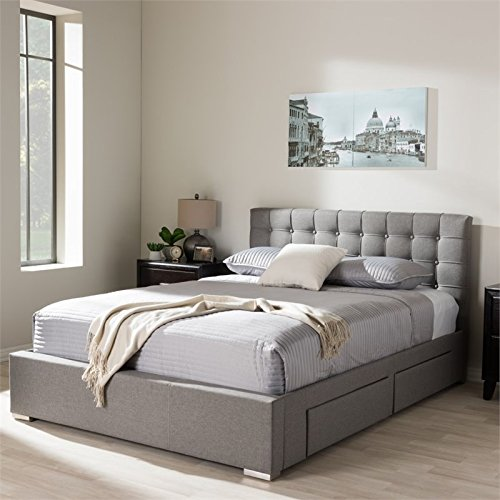 Baxton Studio Rene King Storage Platform Bed in Gray & Storage King Sized Beds
