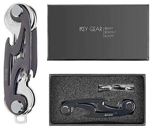 KEY GEAR Smart Pocket Key Holder – Best Pocket Key Organizer with Sleek, Lightweight & Compact Design – Superior Choice to Bulky Key Wallets or Key Cases – Can Hold 2-10 Keys (black)