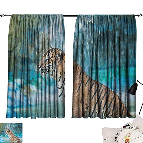 "Price comparison product image Warm Family Tiger Simple Curtain Feline Beast in Pond Searching for Prey Sumatra Indonesia Scenes for Living,  Dining,  Bedroom (Pair) 63"" Wx63 L Turquoise Pale Brown Black"