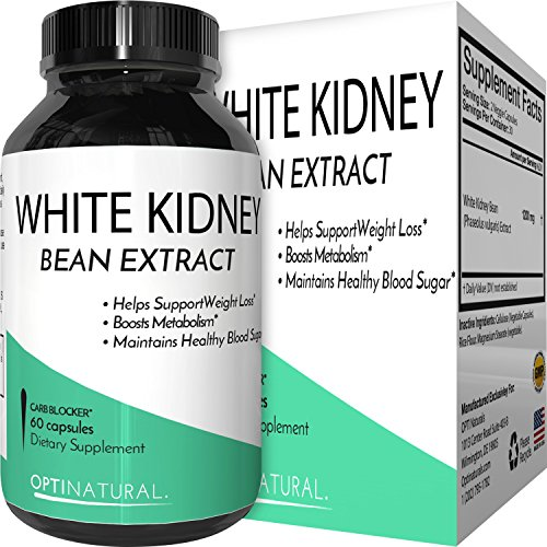 Pure White Kidney Bean Extract for Weight Loss  Natural Starch & Carb Blocker  Premium Vitamin Capsules to Burn Fat and Lose Weight  Antioxidant Supplement for Women and Men - By Opti Naturals