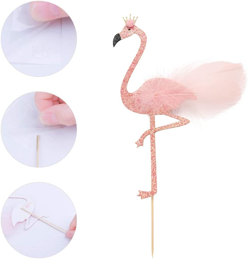 JANOU Flamingo Cake Toppers Pink Glitter Flamingo Cupcake Toothpicks with Feather for Wedding Birthday Luau Party Decoration Pack 3pcs