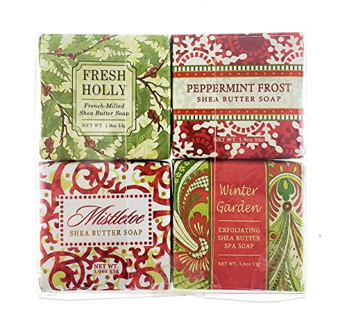 Christmas Holiday Soap Sampler - Gift Boxed Set of 4 Assorted Scents (Fresh Holly, Mistletoe, Peppermint Frost, and Winter Garden) (Hostess Gifts For Christmas)