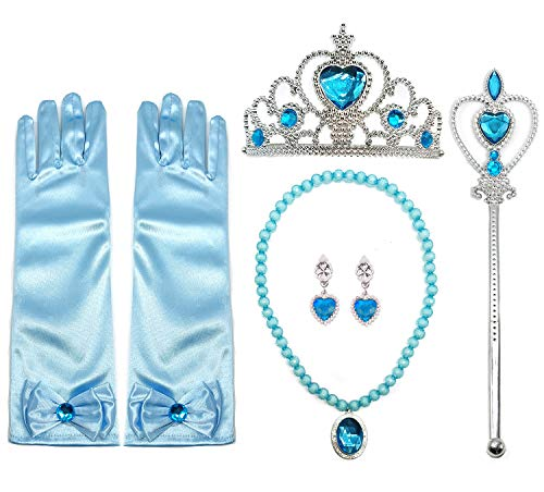 ALEAD Girls Long Satin Princess Dress Up Diamonds Bows Gloves for Kids (blue set)]()