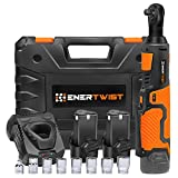EnerTwist Cordless Electric Ratchet Wrench Set - 3/8' 12V Power Ratchet Tool with 2 2.0Ah Lithium-Ion Batteries, Fast Charger, 7-Pieces 3/8 Inch Metric Sockets and 1/4' Adaptor, ET-RW-12
