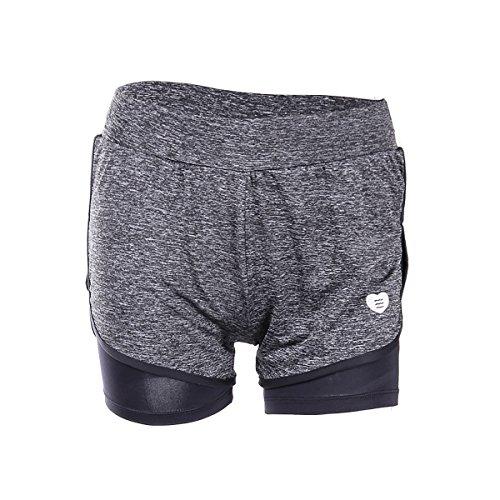 EUFANCE Mujeres Gimnasio de Fitness Yoga Pantalones de Entrenamiento de los Deportes de Ejercicio de secado Rápido Mini Hot Shorts Gris