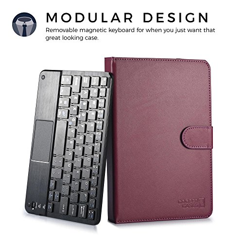Lava E Tab Ivory S, QPAD e704 keyboard case, COOPER TOUCHPAD EXECUTIVE 2-in-1 Wireless Bluetooth Keyboard Mouse Leather Travel Cases Cover Holder Folio Portfolio + Stand QPAD e704, Ivory S (Purple)
