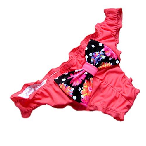 Victoria Malinsa Womens Ruffle Wavy Cheeky Bikini Bottom Low Rise Swim Bottom with Bow (XL, Red with Bow)
