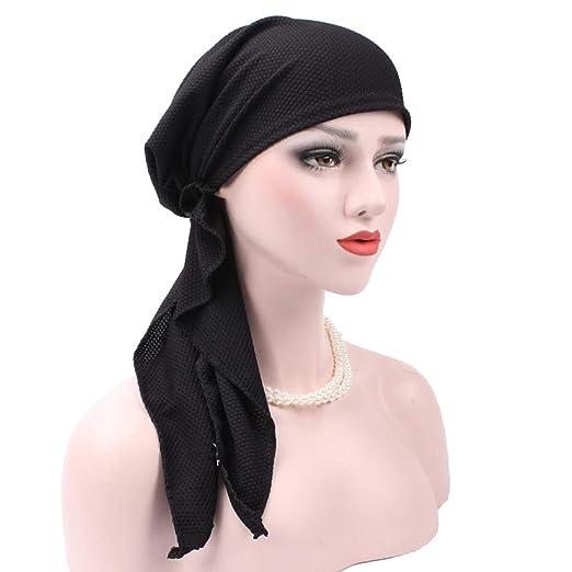 Solid Color Cotton Curved Head Wrap Cap Women Muslim Hijab Turban Hat Headwear - Black