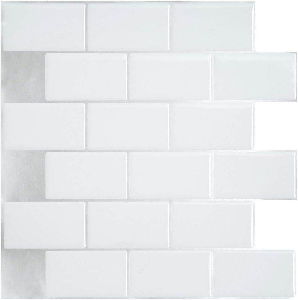 Ecoart Decorativos Adhesivos para Azulejos Pegatina de Pared, Azulejos de Gel, Diseño de Ladrillo Blanco, Efecto 3D, Cenefa Autoadhesivo, para Baño y Cocina