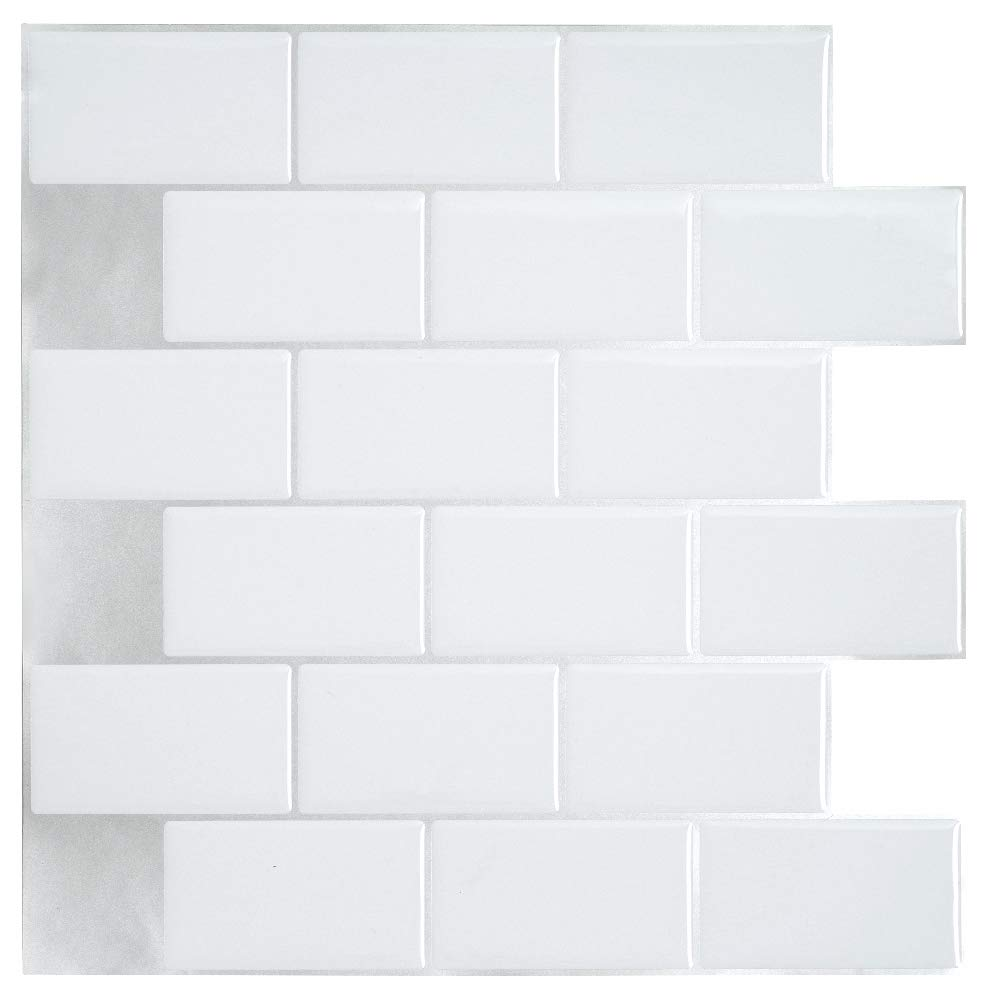 Ecoart Wall Tile Stickers Peel and Stick Self Adhesive Wall Tile 10'' X 10'' Subway White Brick Style(6 Sheets by Ecoart