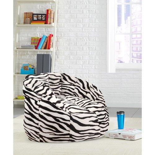 Zebra Faux Fur Bean Bag Chair