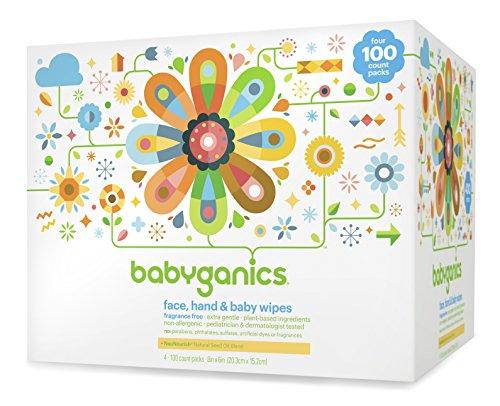 BabyGanics visage, les mains et lingettes pour bébé, sans parfum, 400 Count (contient quatre Packs 100-Count)