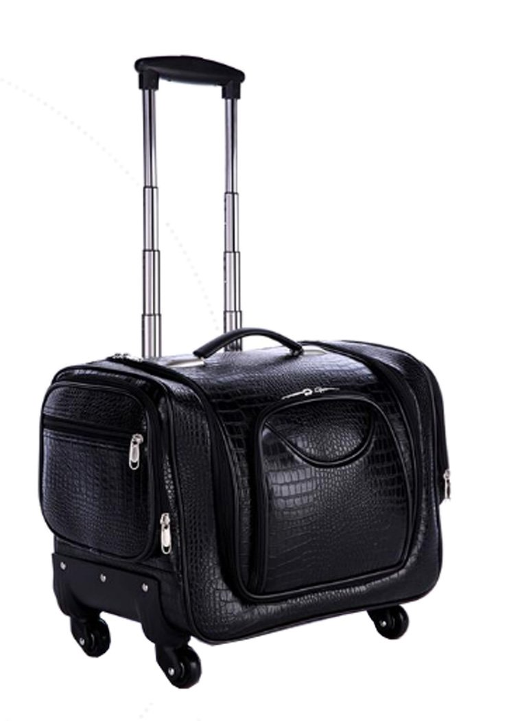 Douniushi Womens PU Leather Cosmetic Luggage with Wheels - Crocodile Black