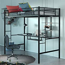 Bedroom Giantex Metal Loft Bed Frame, Twin Size Bunk Bed with Bilateral Ladders, Guardrails, Desk and Bookcase, Space-Saving… bunk beds