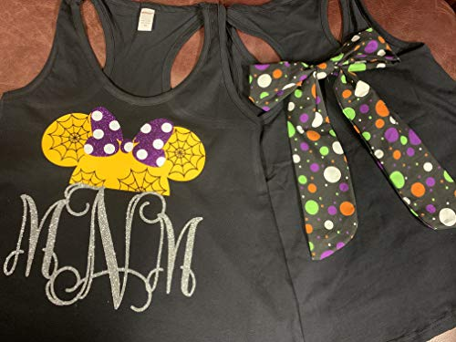 (Handmade Disney Halloween shirt ~ Minnie Mouse Personalized Shirt with Disney Halloween Polka Dot bow on back of shirts ~ Not So Scary Mickey Mouse Halloween)