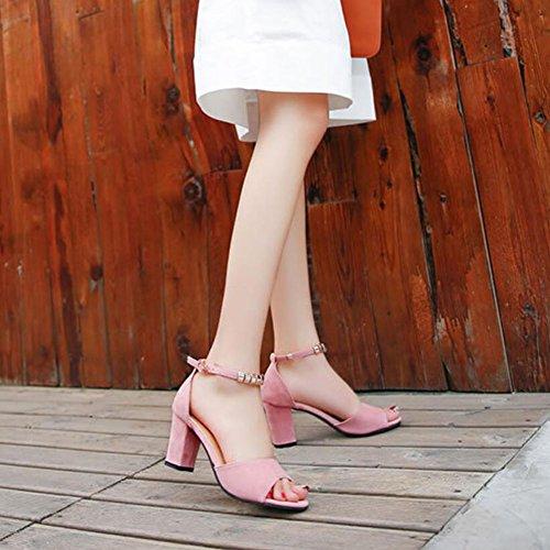 Verde Zapatos Verano Negro Abalorios Gris Rosado mujer sintético Rosa básica Tacones Abierta Bomba de cuero de GAOLIXIA para Casual ZZqrA