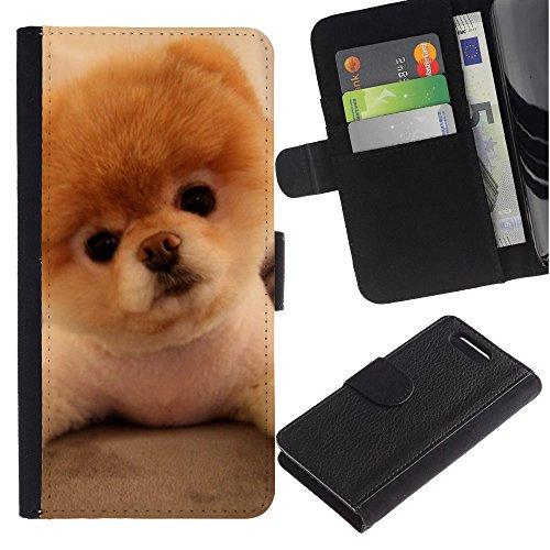 LASTONE PHONE CASE / Lujo Billetera de Cuero Caso del tirón Titular de la tarjeta Flip Carcasa Funda para Sony Xperia Z1 Compact D5503 / Pomeranian Puppy Golden Brown Dog