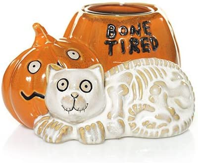 Yankee Candle Bone Tired Cat Pumpkin Halloween Votive Candle Holder
