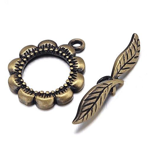 - Toggle Clasp T-Bar & Ring Clasps, Flower & Leaf Shape 21 x 18mm, Brushed Brass - Antique Bronze, 5 Sets