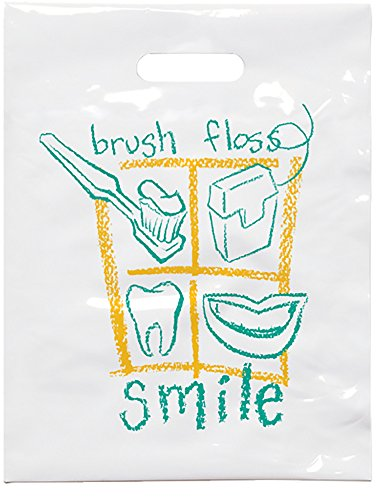 """Practicon 1109612 Brush Floss B Patient Care Bags, 7-3/4"""" x 9"""" (Pack of 100)"""