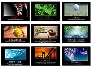 "9x Poster Motivational Self Positive Office Quotes Inspirational Success Teamwork Dream Focus Responsibility Prints 35.5x23.5"" (90x60cm) E397(01-09)"