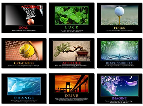 "9x Poster Motivational Self Positive Office Quotes Inspirational Success Teamwork Dream Focus Responsibility Prints 20x13"" (50x33cm) E397(01-09)"