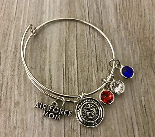 Air Force Mom Bangle Bracelet, Proud Airforce Mom Charm Bracelet - Makes Perfect Mom Gifts