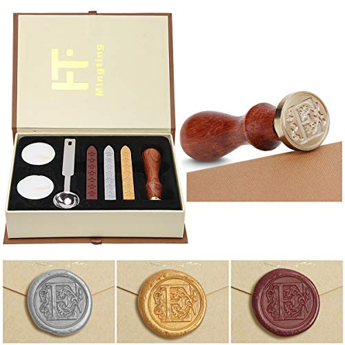 Wax Seal Stamp Kit,Mingting Vintage Wax Stamp Seal Kit Initial Letters Alphabet (E)