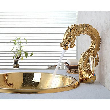 MENRYANG High-End Luxury Series of Pure Hand-Made Brass Dragon Shape Bathroom Sink Faucet - Gold by MENRYANG (Image #5)