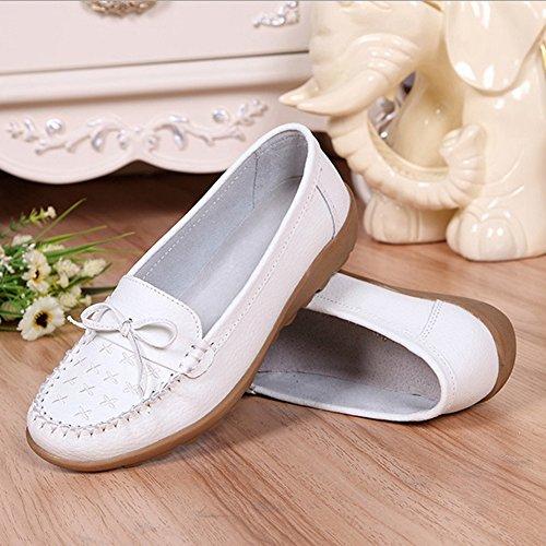 T-july Lindo Bowknot Comfort Boat Zapatos Antideslizante Suela De Goma De Conducción Penny Loafer Zapatos Para Mujeres Blancas