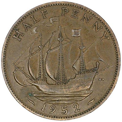 1952 UK Great Britain George VI Bronze Halfpenny Good